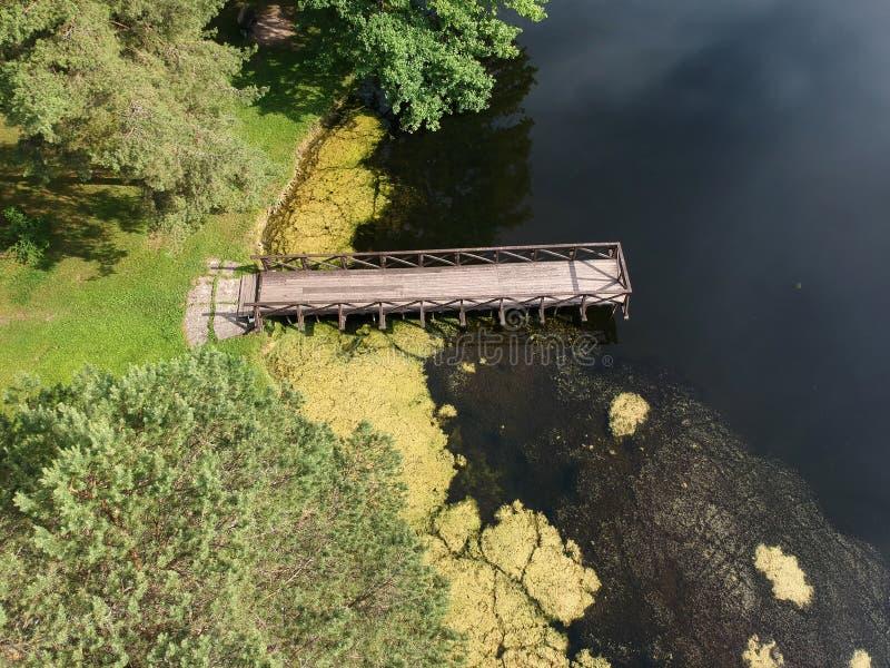 Costa do lago summer com a ponte de madeira vazia, aérea fotografia de stock royalty free