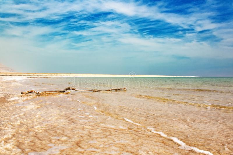 Costa e cielo blu rosa del mar Morto immagini stock libere da diritti