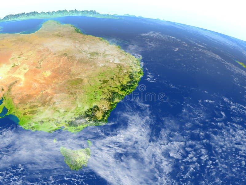 Costa Est dell'Australia su pianeta Terra illustrazione vettoriale