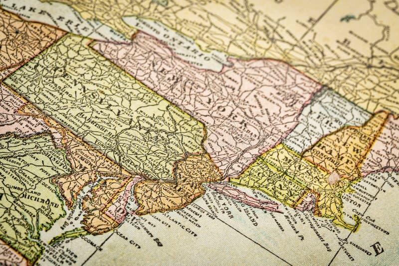 Costa este de los E.E.U.U. en mapa del vintage fotografía de archivo