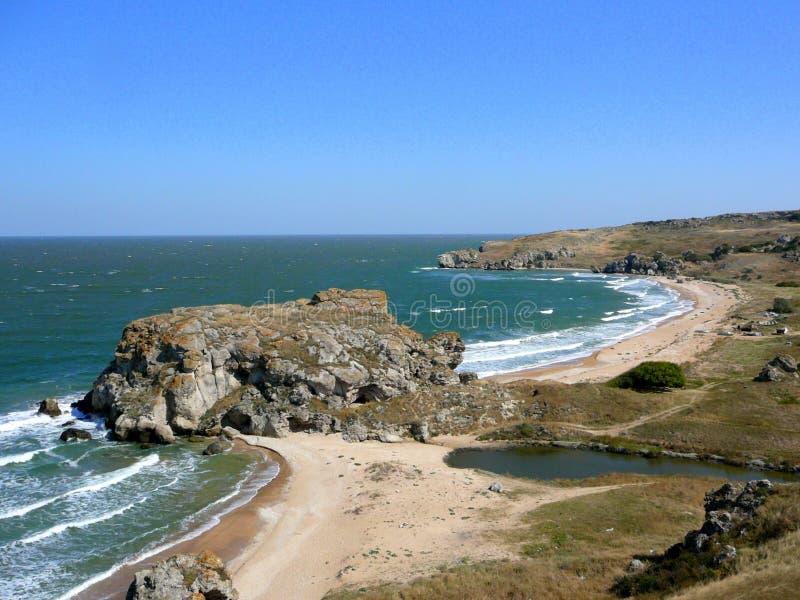 Costa hermosa del mar de Azov fotos de archivo libres de regalías