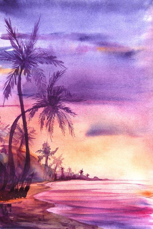 Costa costa incompleta de la acuarela real con las palmeras durante puesta del sol fotografía de archivo