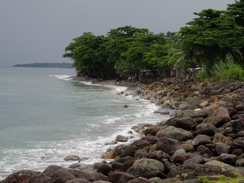 Costa jamaiquina de Buff Bay en la zona de Portland fotos de archivo libres de regalías
