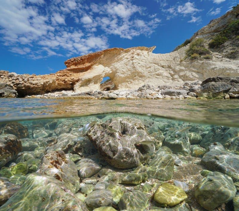 Costa Javea mediterráneo España de la formación de roca fotos de archivo libres de regalías