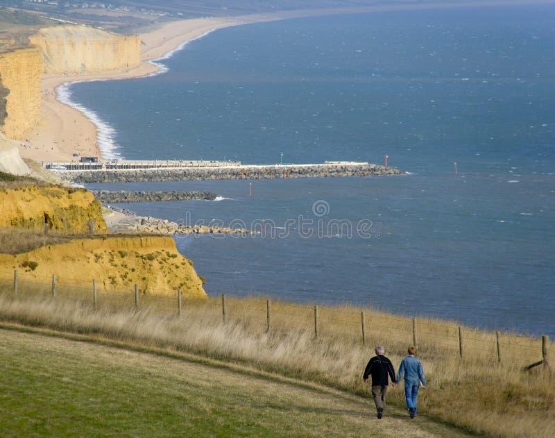 Costa jurássico p de Dorset da boca do eype da costa do bridport de Inglaterra Dorset foto de stock royalty free