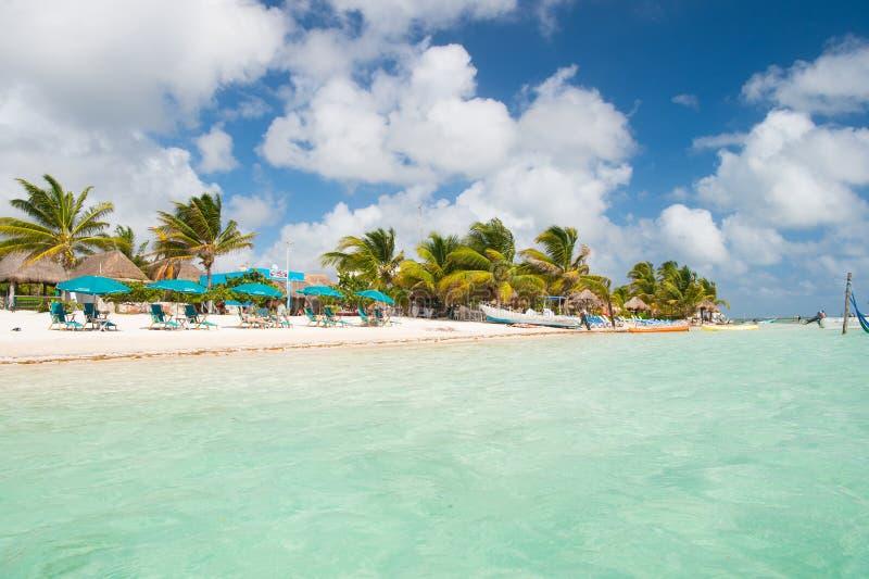 Costa Maya, México - 1º de fevereiro de 2016: praia do mar A água azul, a areia branca e as palmas no mar tropical encalham verão foto de stock royalty free