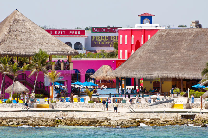 Costa Maya, Mexico. A view of the colorful buildings and the thatched roofs of Costa Maya Port, housing restaurants, bars and shops, in the Yucatan, Mexico, on royalty free stock image