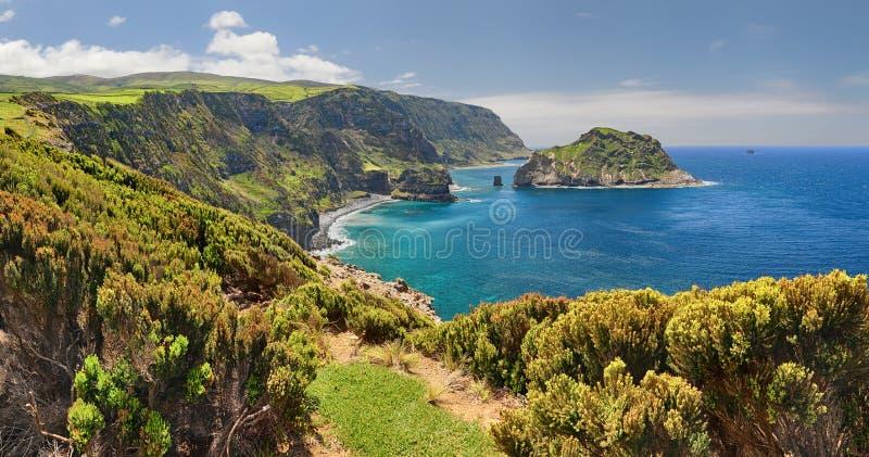 Costa nordica delle isole delle Azzorre del Flores fotografia stock
