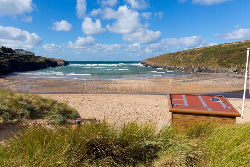 Costa norte córnico BRITÂNICA de Cornualha Inglaterra da baía de Porthcothan fotografia de stock royalty free