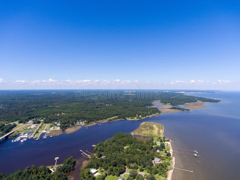Costa ocidental da baía móvel, Alabama imagens de stock
