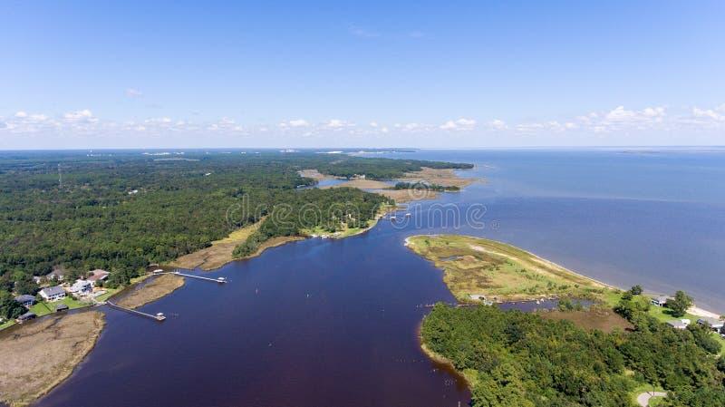 Costa ocidental da baía móvel, Alabama fotos de stock