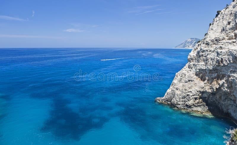 Costa oeste de Lefkada, Grécia fotografia de stock