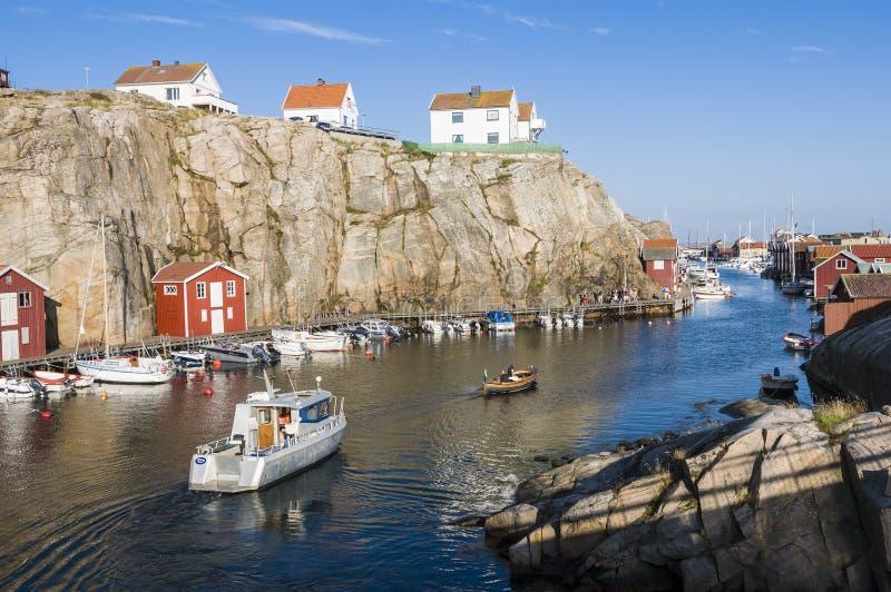 Costa ovest Svezia di Smögen del porto fotografia stock libera da diritti