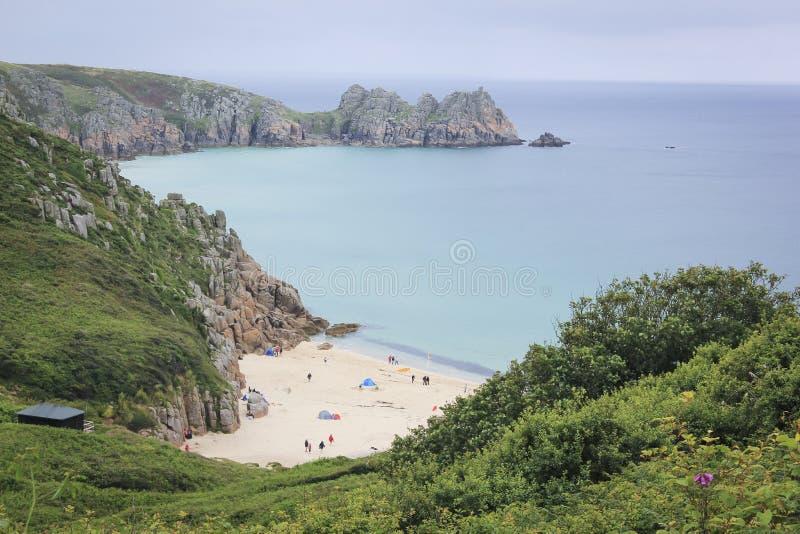 Costa Reino Unido de Cornualles de la playa de Porthcurno foto de archivo libre de regalías