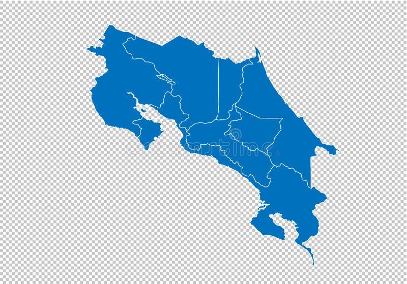 Costa Rica översikt - detaljerad blå översikt för höjdpunkt med län/regioner/stater av Costa Rica Costa Rica översikt som isolera vektor illustrationer