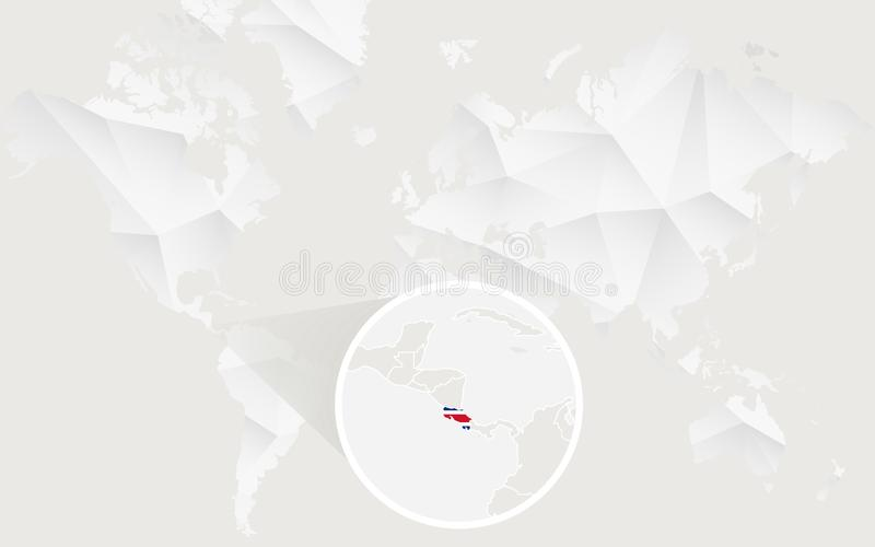 Costa Rica översikt med flaggan i kontur på den vita polygonal världskartan royaltyfri illustrationer