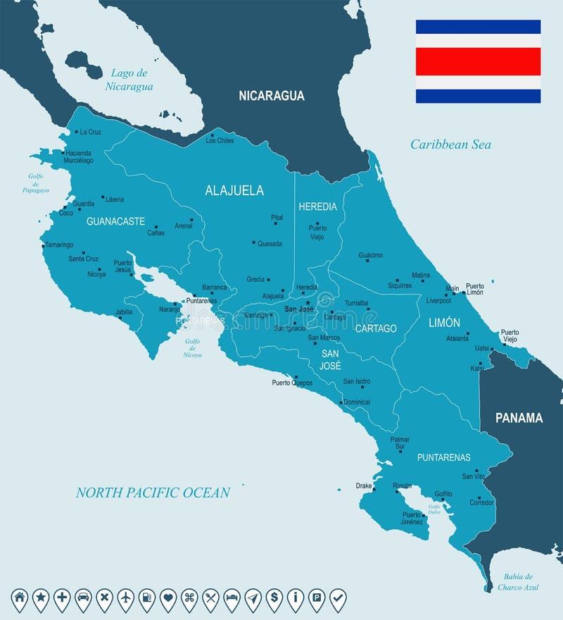 Costa Rica - översikt och flagga - detaljerad vektorillustration stock illustrationer