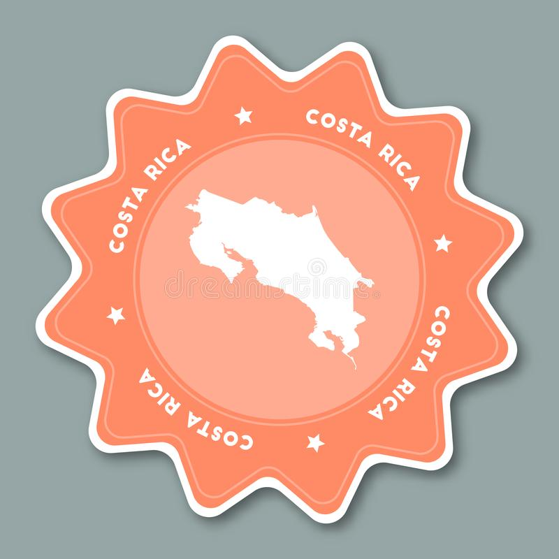 Costa Rica översiktsklistermärke i moderiktiga färger royaltyfri illustrationer