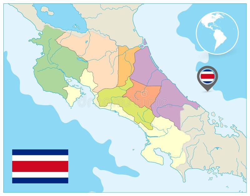 Costa Rica Administracyjna mapa żadny tekst royalty ilustracja