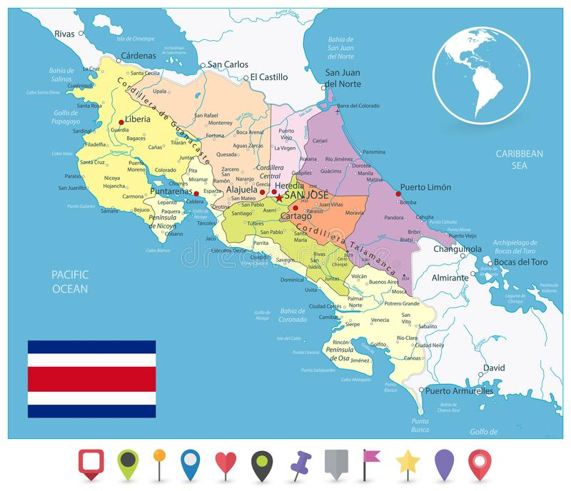 Costa Rica Administracyjna mapa i mieszkanie Wałkowe ikony royalty ilustracja