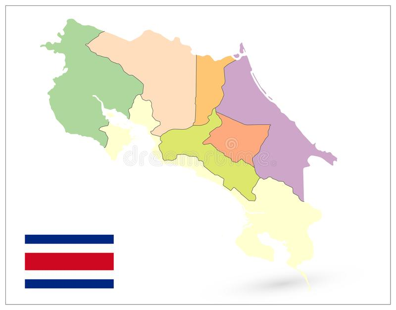 Costa Rica Administracyjna mapa Odizolowywająca Na bielu żadny tekst ilustracja wektor