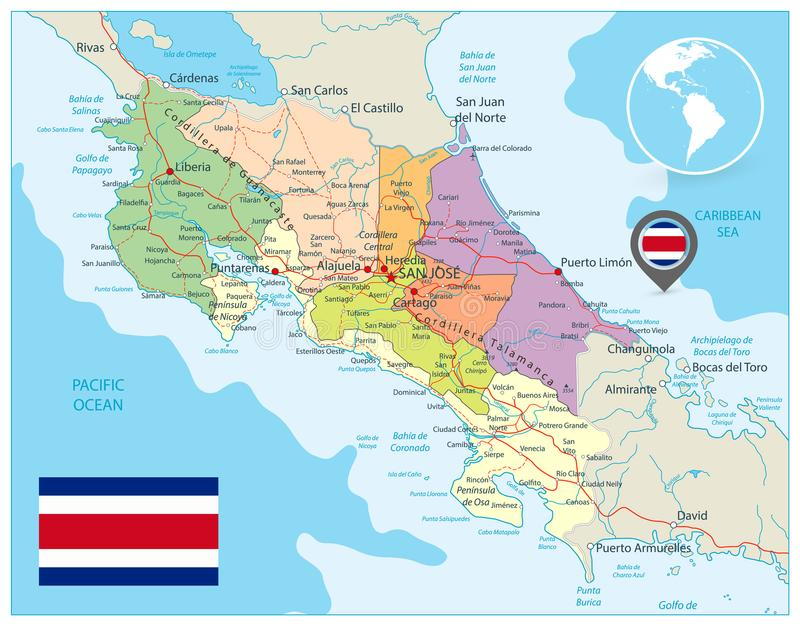 Costa Rica Administrative Map vektor illustrationer