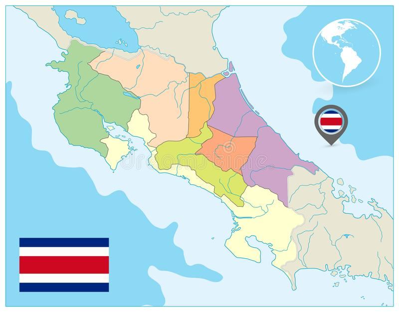 Costa Rica Administrative Map ingen text royaltyfri illustrationer