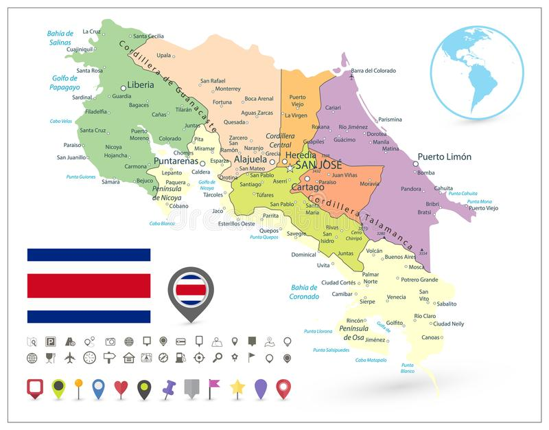 Costa Rica Administrative Map Isolated On White and Map Icons stock illustration