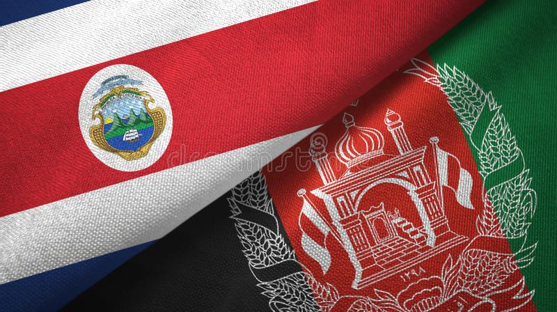 Costa Rica and Afghanistan two flags textile cloth, fabric texture. Costa Rica and Afghanistan flags together textile cloth, fabric texture vector illustration
