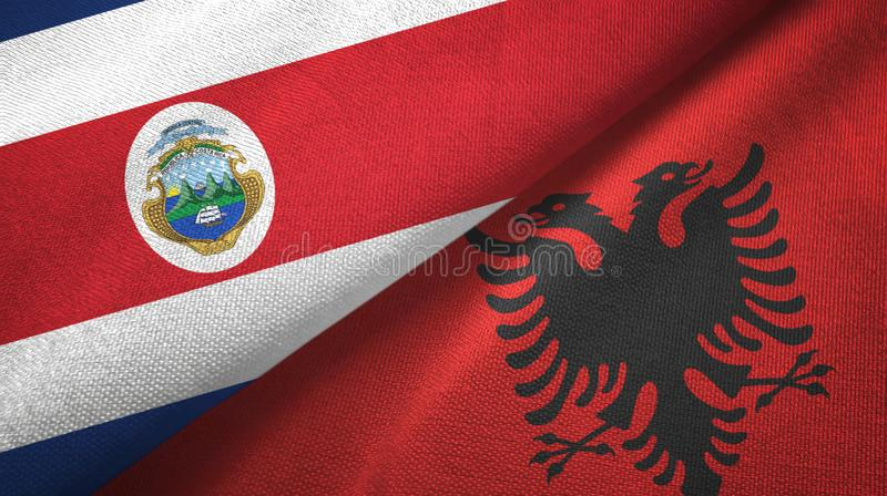 Costa Rica and Albania two flags textile cloth, fabric texture. Costa Rica and Albania flags together textile cloth, fabric texture royalty free illustration