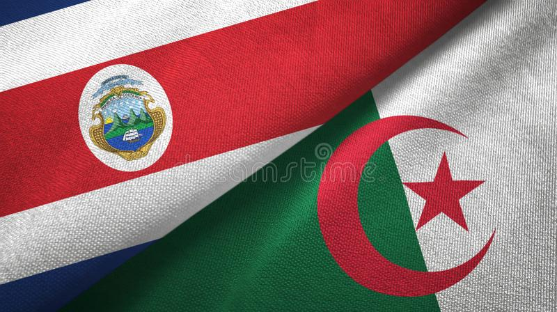 Costa Rica and Algeria two flags textile cloth, fabric texture. Costa Rica and Algeria flags together textile cloth, fabric texture vector illustration