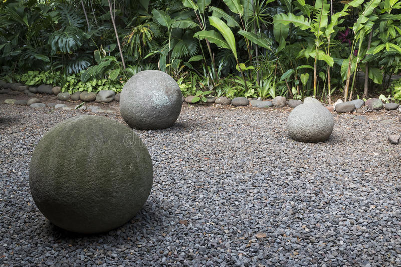 Costa Rica ancient Pre Columbian stone sphere royalty free stock image