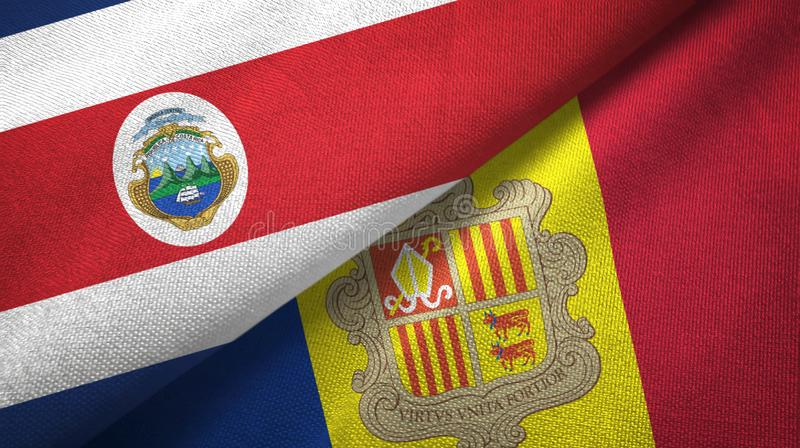 Costa Rica and Andorra two flags textile cloth, fabric texture. Costa Rica and Andorra two folded flags together stock illustration