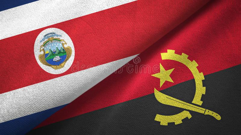 Costa Rica and Angola two flags textile cloth, fabric texture. Costa Rica and Angola flags together textile cloth, fabric texture stock illustration