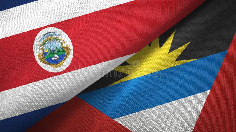 Costa Rica and Antigua and Barbuda two flags textile cloth, fabric texture. Costa Rica and Antigua and Barbuda two folded flags together stock illustration