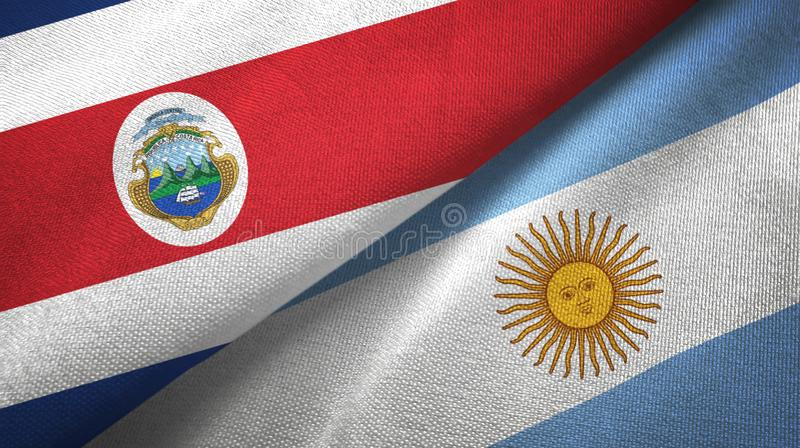 Costa Rica and Argentina two flags textile cloth, fabric texture. Costa Rica and Argentina flags together textile cloth, fabric texture royalty free illustration
