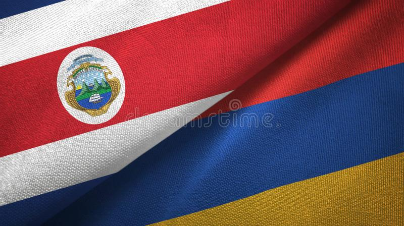 Costa Rica and Armenia two flags textile cloth, fabric texture. Costa Rica and Armenia flags together textile cloth, fabric texture vector illustration