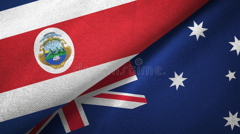 Costa Rica and Australia two flags textile cloth, fabric texture. Costa Rica and Australia flags together textile cloth, fabric texture vector illustration