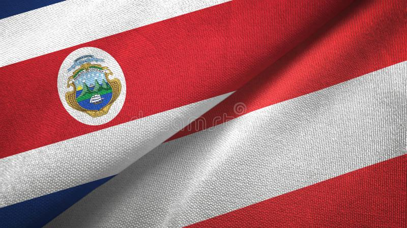 Costa Rica and Austria two flags textile cloth, fabric texture. Costa Rica and Austria flags together textile cloth, fabric texture stock illustration