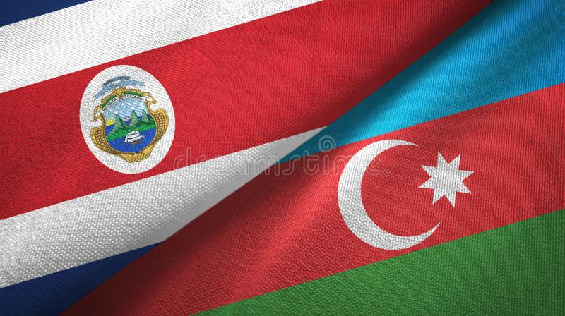 Costa Rica and Azerbaijan two flags textile cloth, fabric texture. Costa Rica and Azerbaijan flags together textile cloth, fabric texture royalty free illustration