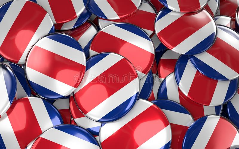 Costa Rica Badges Background - Pile of Costa Rican Flag Buttons. royalty free illustration