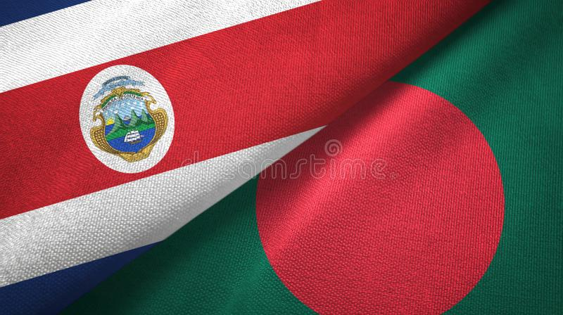 Costa Rica and Bangladesh two flags textile cloth, fabric texture. Costa Rica and Bangladesh flags together textile cloth, fabric texture royalty free illustration