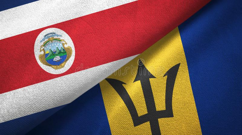 Costa Rica and Barbados two flags textile cloth, fabric texture. Costa Rica and Barbados two folded flags together royalty free illustration
