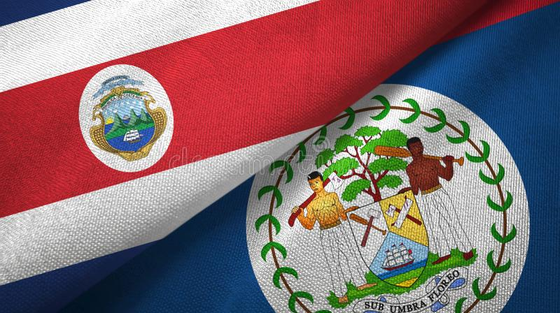 Costa Rica and Belize two flags textile cloth, fabric texture. Costa Rica and Belize two folded flags together stock illustration