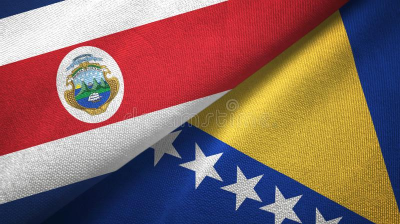 Costa Rica and Bosnia and Herzegovina two flags textile cloth, fabric texture. Costa Rica and Bosnia and Herzegovina flags together textile cloth, fabric texture stock illustration