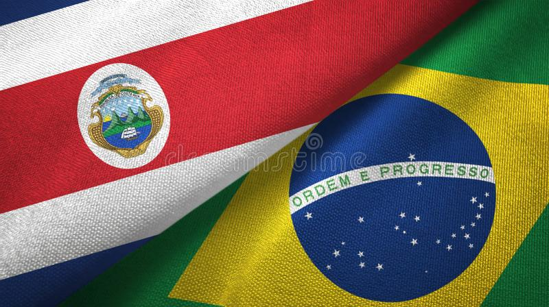 Costa Rica and Brazil two flags textile cloth, fabric texture. Costa Rica and Brazil flags together textile cloth, fabric texture vector illustration