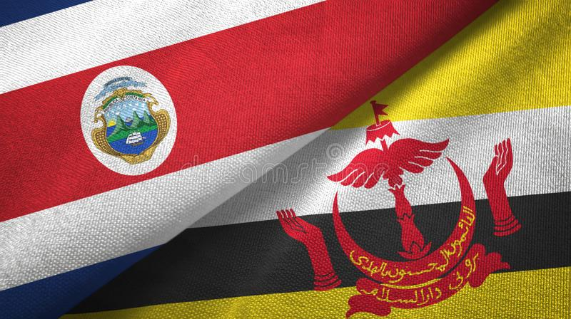 Costa Rica and Brunei two flags textile cloth. Costa Rica and Brunei Darussalam flags together textile cloth, fabric texture. Text on brunei flag means - Always vector illustration