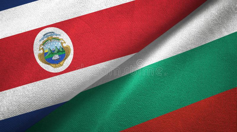 Costa Rica and Bulgaria two flags textile cloth, fabric texture. Costa Rica and Bulgaria flags together textile cloth, fabric texture royalty free illustration
