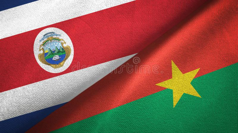 Costa Rica and Burkina Faso two flags textile cloth, fabric texture. Costa Rica and Burkina Faso two folded flags together vector illustration