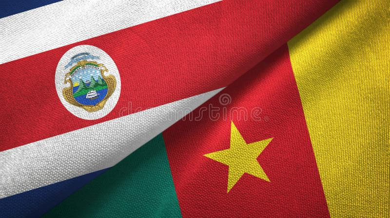 Costa Rica and Cameroon two flags textile cloth, fabric texture. Costa Rica and Cameroon two folded flags together stock illustration